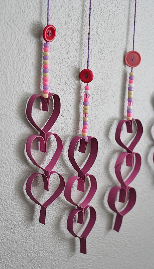 Cardboard Tube Dangling Hearts @Amanda Formaro Crafts by Amanda