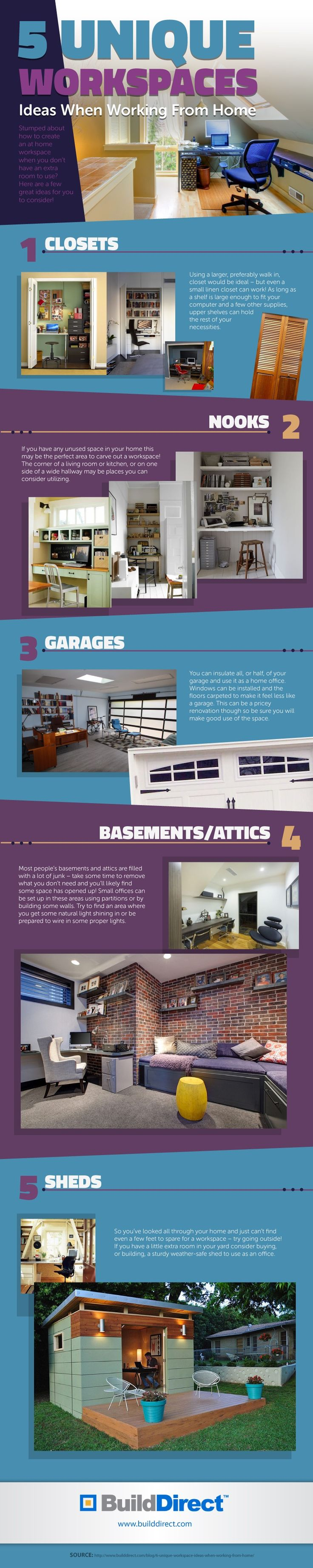 Workspaces at home are more common as 21st century citizens redefine work/life balance. Here is an infographic that outlines 5 unique home offices.Read more: http://www.builddirect.com/blog/5-unique-workspaces-an-infographic/