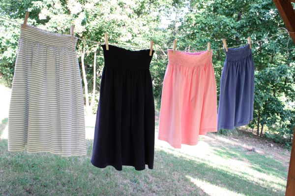 Skirts made out of t-shirts! For the beach, poolside lounging, running errands, trips to the park...