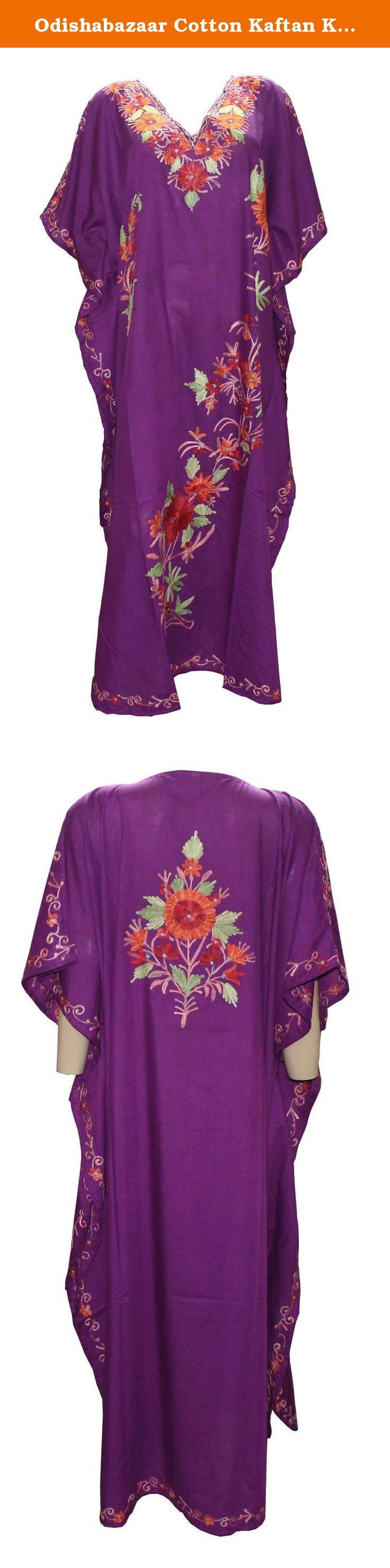 Odishabazaar Cotton Kaftan Kashmiri Embroidered Maxi Long Dress for Women (multi-2). Long length Kashmiri Kaftan/lounge wear/beach wear/ maxi dress with Ari Embroidered Flowers.