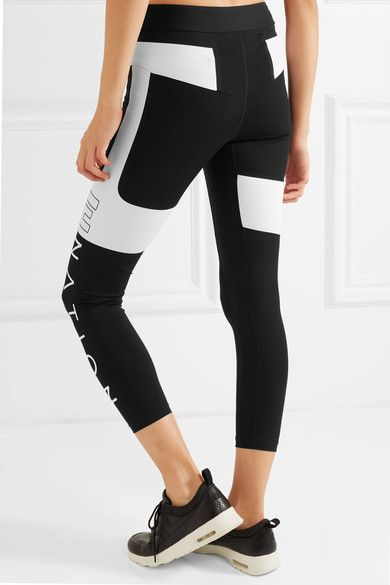 P.E Nation - Roll Out Two-tone Stretch-jersey Leggings - Black -