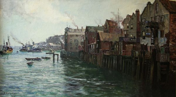 Slater painted extensively around the Northumberland coastline and the Tyne. This scene was painted many times by the artist and was obviously a subject he re-visited over the years. Buy it from The Wallington Gallery.