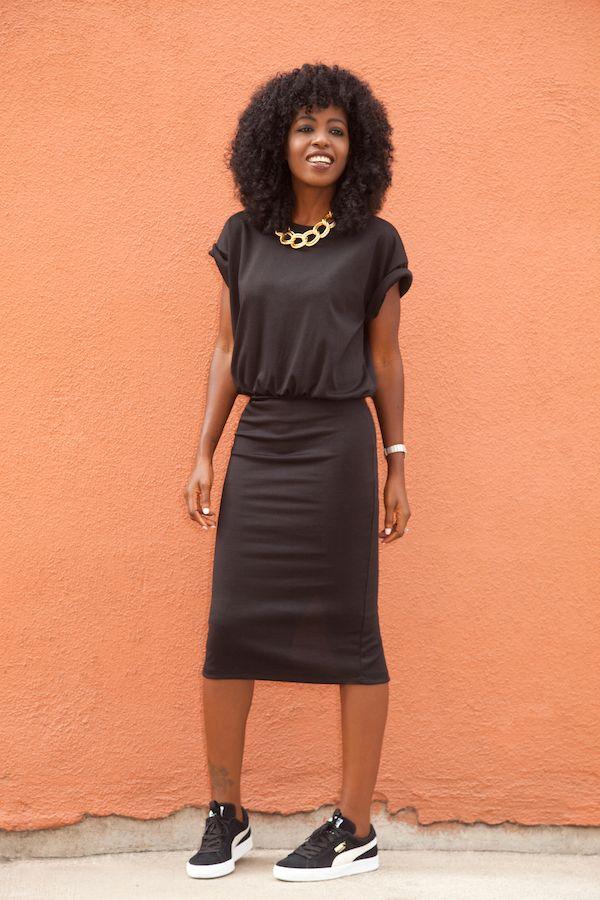 Roll-Up Sleeve Midi Dress