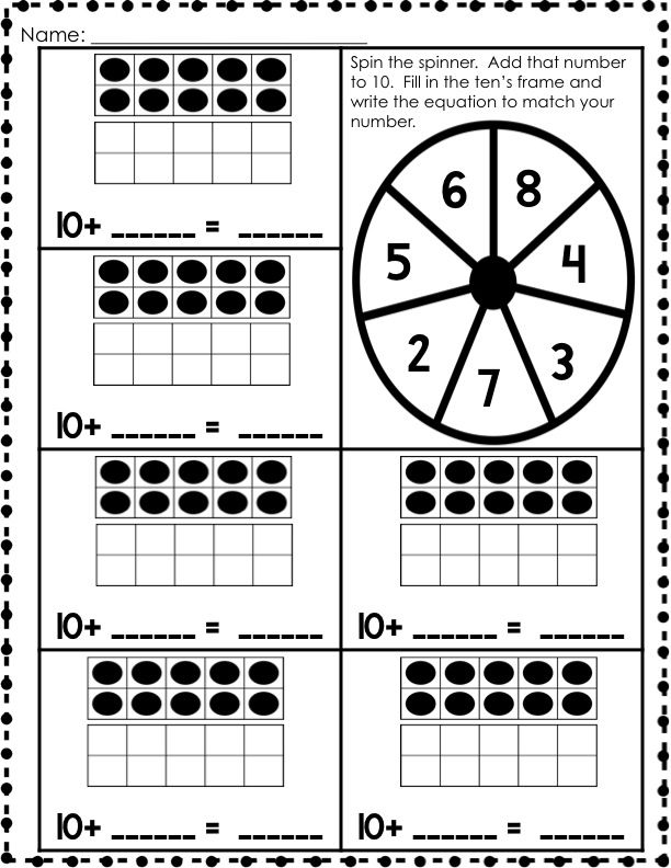 Teen Numbers (base ten resources, activities, and printables) cludes various whole group, small group or math centers and individual activities for teen numbers using double ten's frames and base tens.