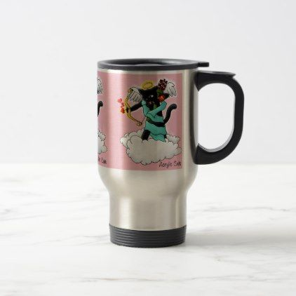 Valentine's Day Coal Black Cupid Cat Travel Mug - valentines day gifts gift idea diy customize special couple love