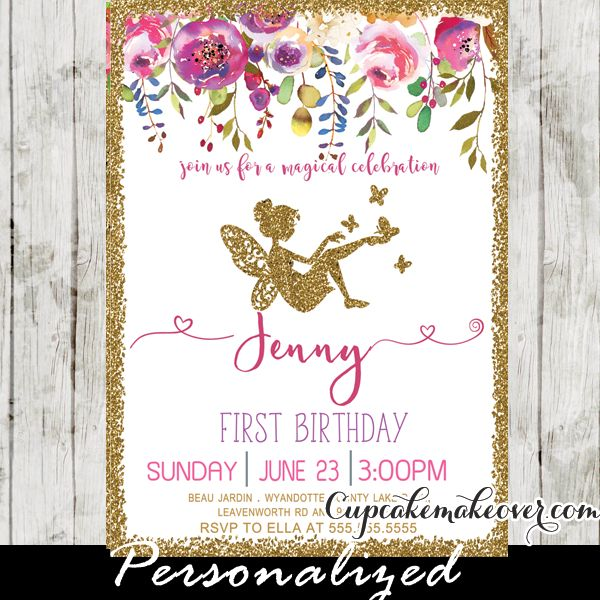 Fairy Birthday Invitations featuring a beautiful floral arrangement in pink hues against a white backdrop framed in faux gold glitter. These fairy garden invitations are perfect for all ages 1st 2nd 3rd 4th 5th 6th birthday!