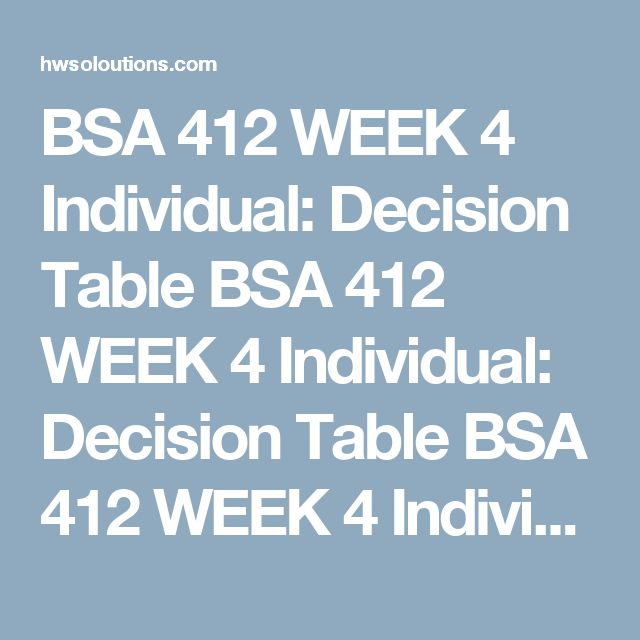 BSA 412 WEEK 4 Individual: Decision Table BSA 412 WEEK 4 Individual: Decision Table BSA 412 WEEK 4 Individual: Decision Table Phoenix Hotel and Resorts offers hotel rooms in three categories: standard, villa, and desert view.  Review the following scenario:  The base price is for a standard hotel room There is a 10% surcharge for the villa and a 20% surcharge for desert view The final price includes a 15% discount for returning customers In addition, the room rate varies according to the…
