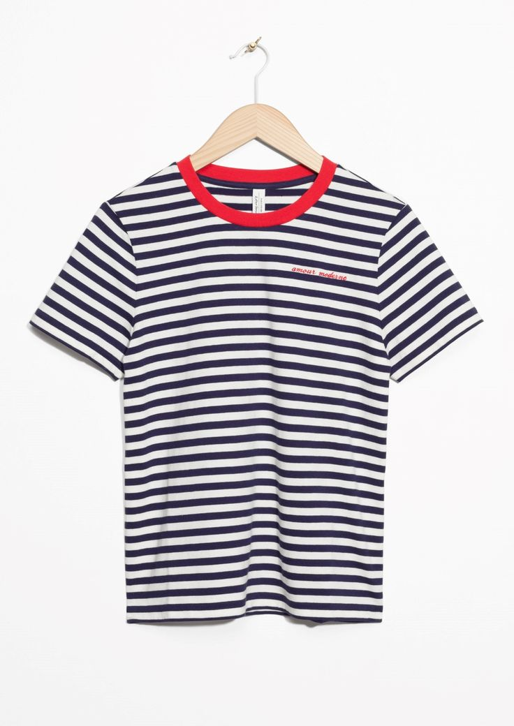 Other Stories image 1 of Contrast Neck Striped Tee in Blue