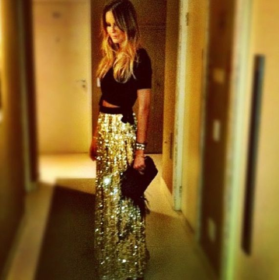 Holiday Party - Black Crop Top and Gold Maxi Skirt