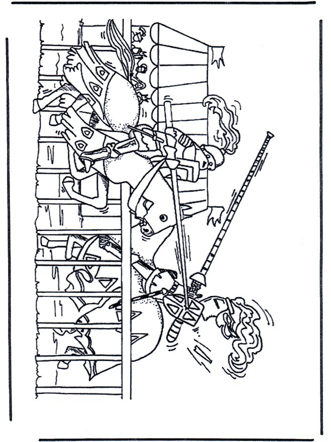coloriage chevaliers-au-combat