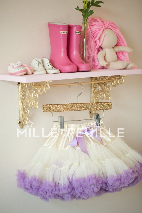 Boutique Hanger for displaying pettiskirts, or other girls and baby clothes Gold or Silver glitter sequin sparkly