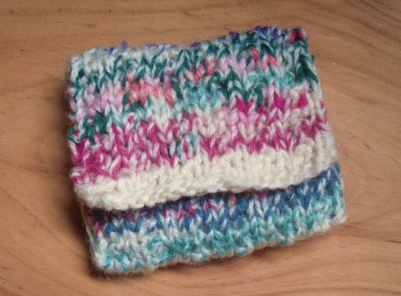 Knitted Coin Purse Hand Knitted Multi Coloured Purse by Kezylou