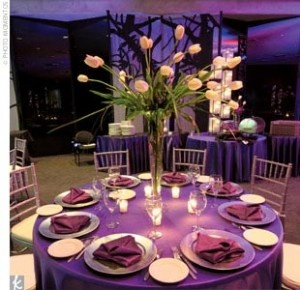 Like this but the flowers would of course be calla lilies. Purple, white with long green stems!