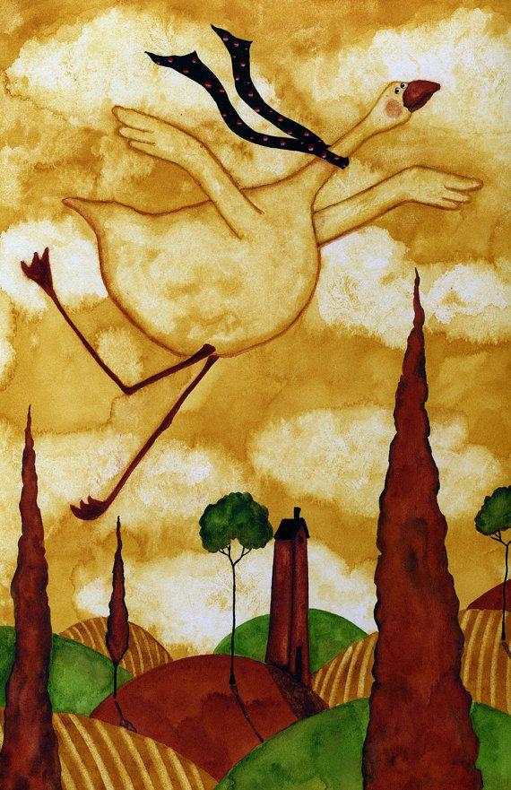 Hubbs Children Art Folk Prints Farm Animals Goose Flight