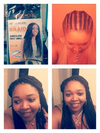 Pretwist senegalese/ Crochet braids  6 packs used, 2hours total to install