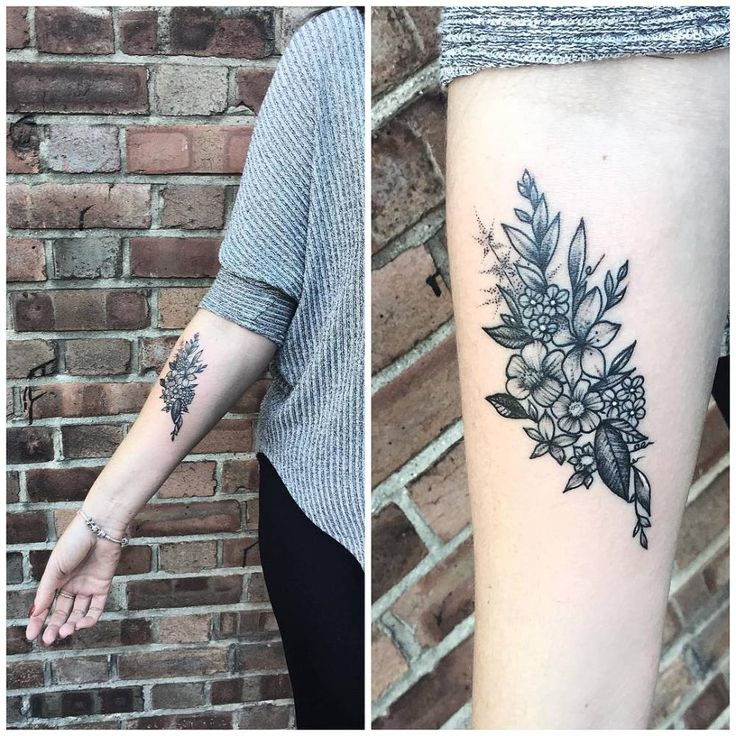 Blackwork flower bouquet on the right inner forearm. Tattoo artist: Rebecca Vincent