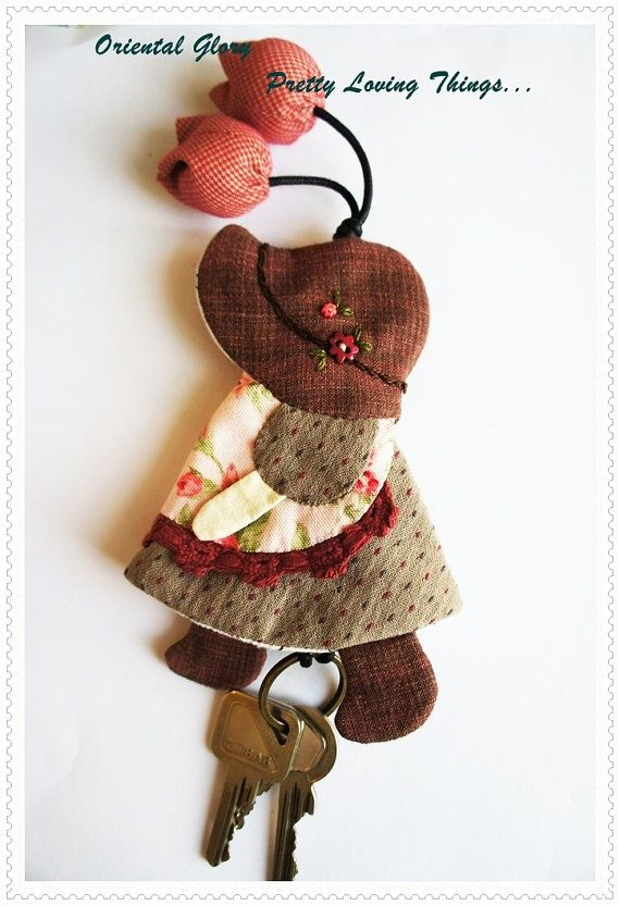 Sunbonnet Sue Hand quilted Key Cover Key Chain   by OrientalGlory, $25.00: