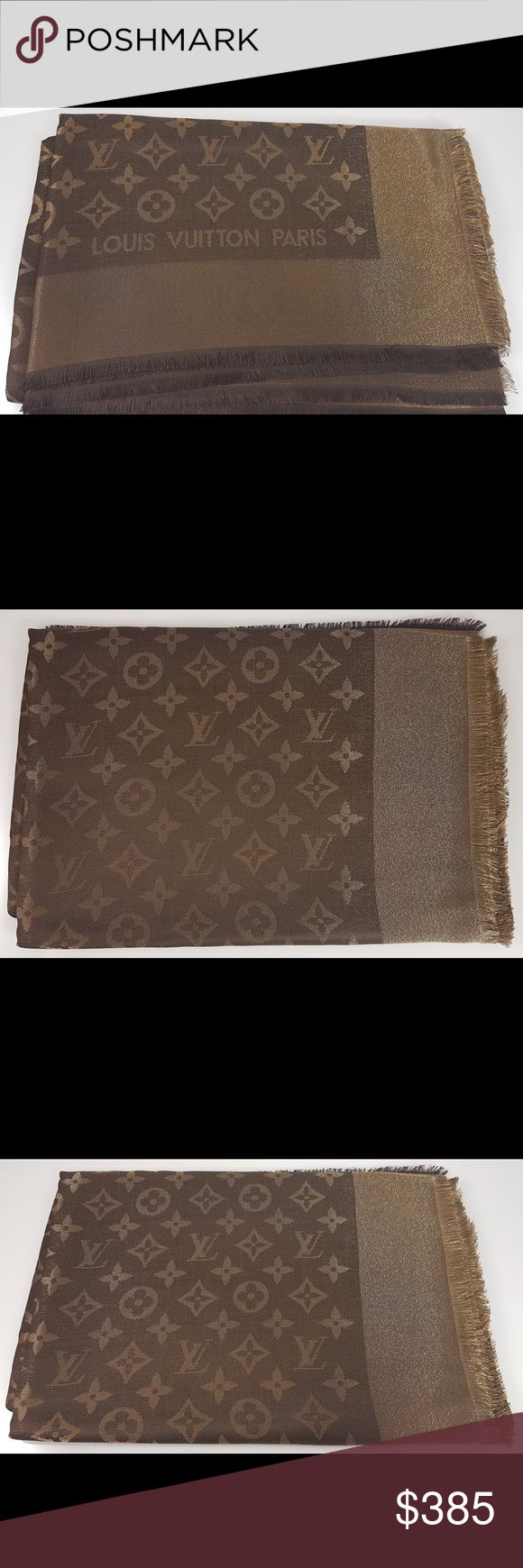 Louis Vuitton Stole Monogram Brown Lurex Louis Vuitton Stole Monogram Brown Lurex. Made in Italy. 47% silk, 26% viscose, 17% wool and 10% polyester. Louis Vuitton Accessories Scarves & Wraps