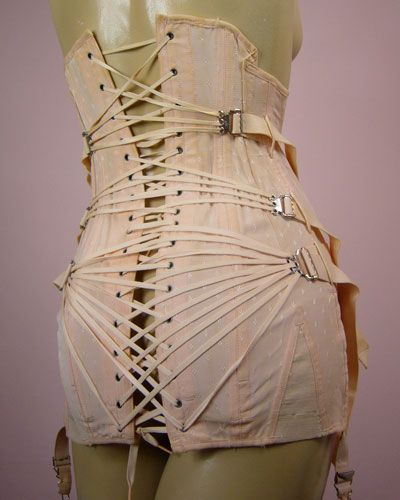 1908 vintage Fan Lacing Corset...Ouch!