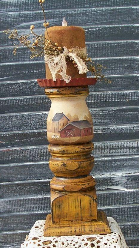 LOVE this!!   Large Candle Holder Primiitve Folk Art  Saltbox Farm by raggedyjan