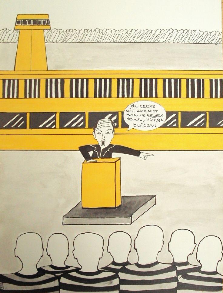De eerste die zich niet aan de regels houdt, vliegt buiten! Cartoon Joke De Baere