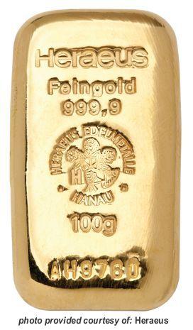 Heraeus 100gram - Cast/Poured Gold Bullion Bar