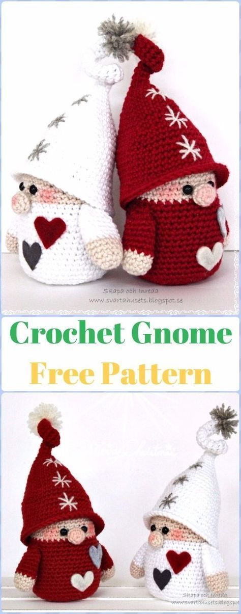 Crochet Gnome Free Pattern - migurumi Crochet Christmas Softies Toys Free Patter...