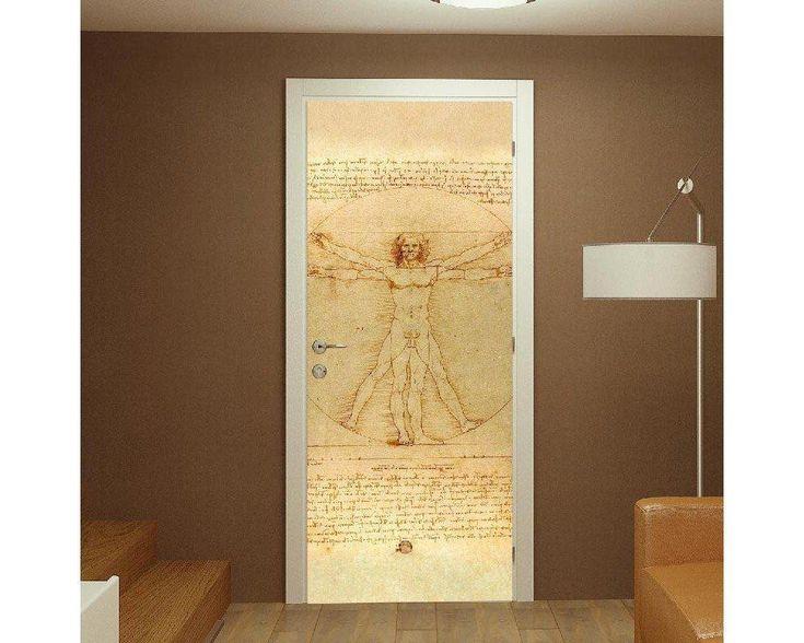 The Vitruvian man, Leonardo Da Vinci,αυτοκόλλητο πόρτας , δείτε το!