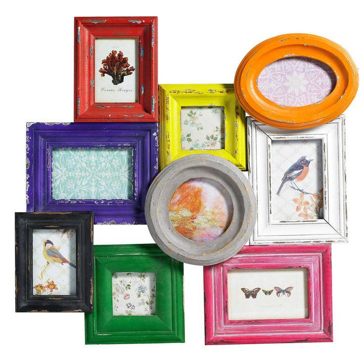 A group of nine wooden photo frames.This pretty collection of frames is an ideal way of displaying a collection of photographs without having to go to a lot of trouble lining up little frames and deciding on the best way to group them. Each wooden frame is a different colour, the frames are sympathetically distressed and their juxtaposition is just perfect. All it needs are your photos!Wood and glassH61 x W58cm