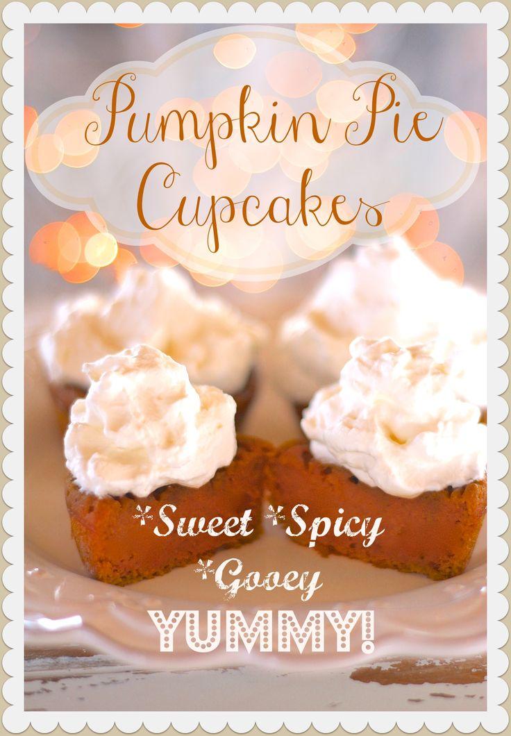 "Pumpkin Pie Cupcakes! The batter forms the ""crust"" and the filling is like pumpkin pie! Come get the recipe! #fall #pumpkin #pumpkinpie #falldesserts"