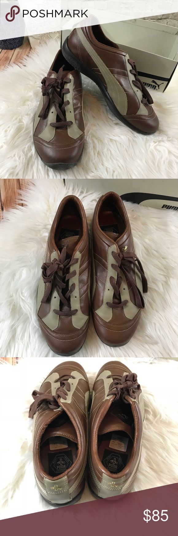 Puma vintage leather sneakers In nearly perfect condition. This puma original shoes sneakers brown with cream combination. Leather soles. Size 10 1/2, original box missing top. Puma Shoes Sneakers
