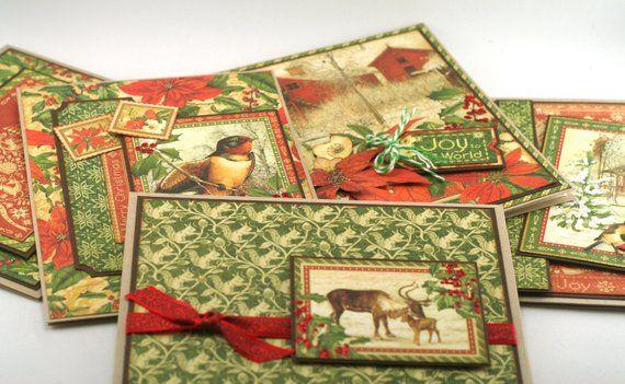 Christmas Card Set Of 5 Vintage Style Rustic Nature Theme Etsy Winter Wonderland Card Christmas Card Set Holiday Card Set