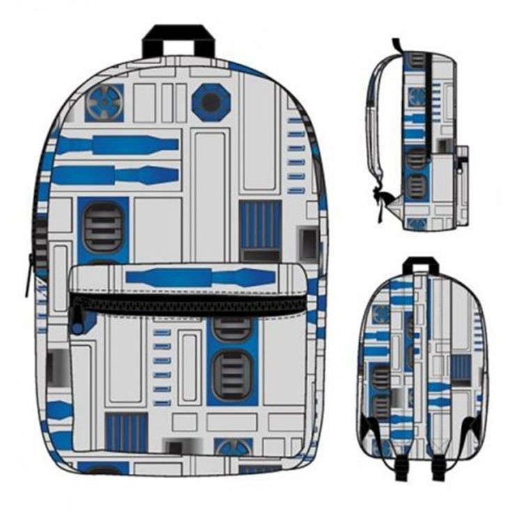 - Officially Licensed Star Wars Product - Sublimated R2-D2 Pattern - Main Compartment and Front Zip Pocket - Adjustable Padded Strap - 100% Polyester