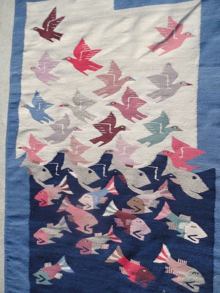 Textile Tapestry Southwestern. Colorful colors of dark blue and creamy white, very nice sea Fish with sky Birds, each of them painted in original colors. Very rare. blue and white colored multi colors fiver ,.   eBay!