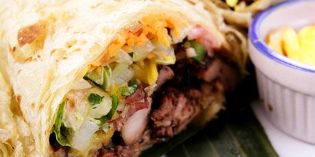 """Reggae Wrap - Homemade Jerk Chicken with Pineapple and Mango Salsa, Lettuce, Tomato and Cajun Mayonnaise in a Roti - Recipe from Solyve Restaurant in Orangeville, Ontario as seen on """"You Gotta Eat Here"""""""