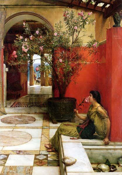 "peinture UK : Lawrence Alma-Tadema - ""An oleander"" (laurier-rose), 1882, intérieur style romain"