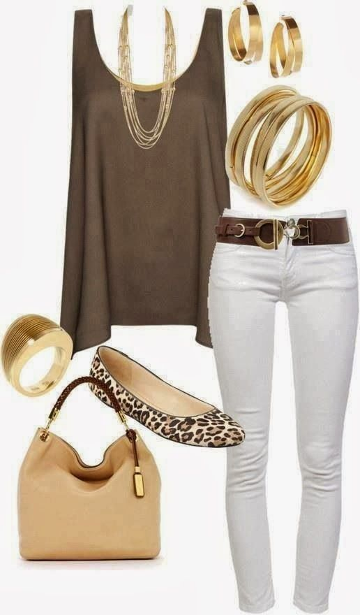 Awesome ladies white nude jeans and combinations outfits