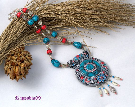 Necklace Tibetan necklace Jewelry ethnic pendant Tibetant jewelry Polymer clay pendant Asian necklace
