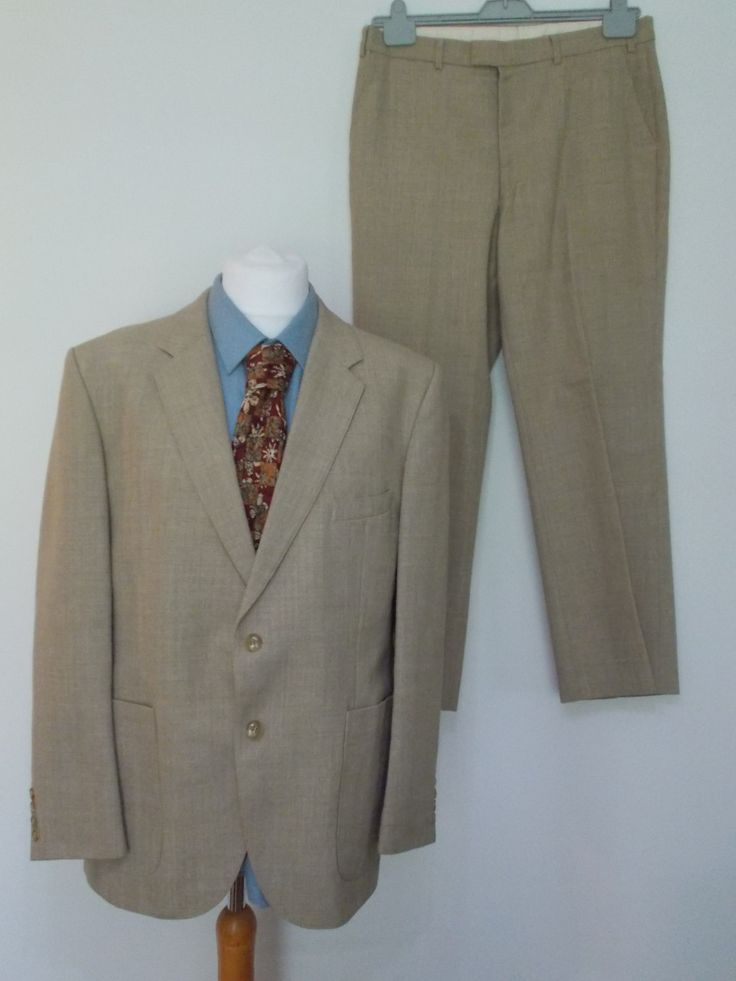 Vintage mens suit by St Michael wool mix beige suit in immaculate condition size…