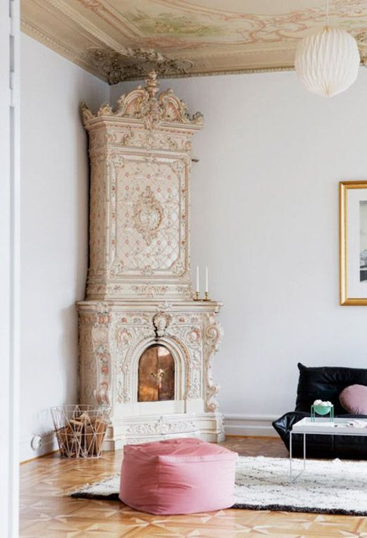 vintage ornate cabinett with fireplace. / sfgirlbybay