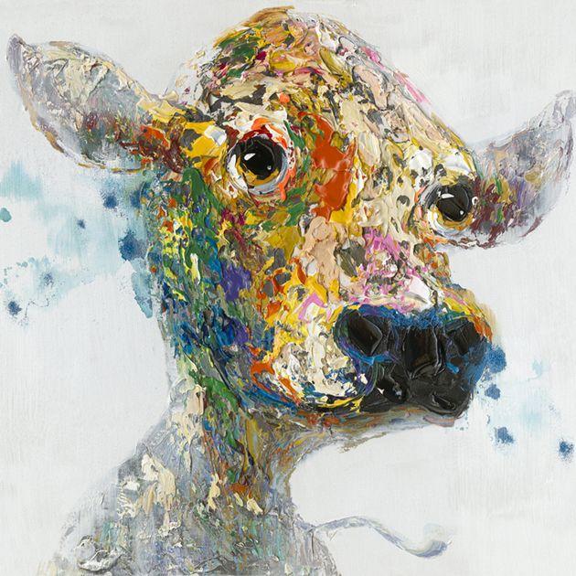 Trendykunst presenteert dit prachtige schilderij van een bont kalf.  Olieverfschilderijen zijn met de hand geschilderd op doek.