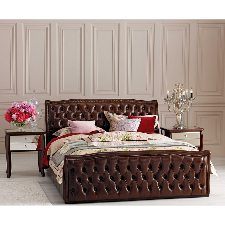 'French Provincial' Perugia Leather Queen Bedframe from Domayne