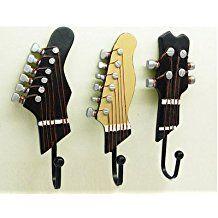 atat-1Pack de 3ganchos toalla perchero de pared Perchas), diseño de guitarra vintage resina ganchos 3-Hook