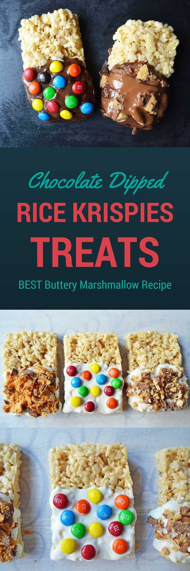 Secrets on how to make the BEST Rice Krispies Treats. Forget the recipe on the box. There's a better way! Dipping them in milk, white, or semi-sweet chocolate and the rolling into your favorite candy bar toppings. They taste just like the chocolate dipped Rice Krispies treats you find at Disneyland.