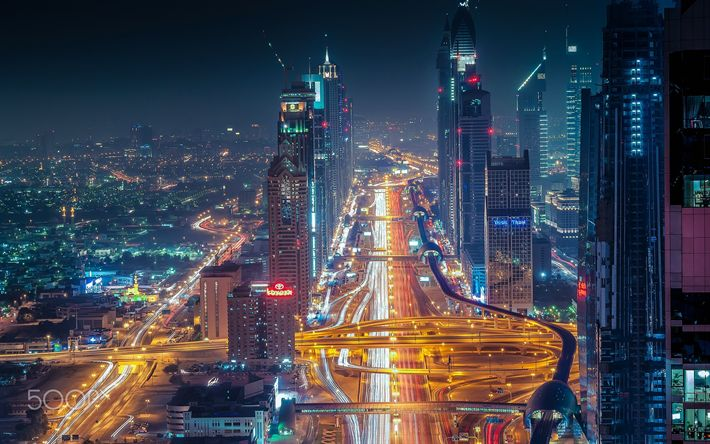 Download wallpapers Dubai, nightscapes, roads, UAE, traffic lights, United Arab Emirates
