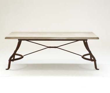 Deluxe Coffee Table with Limestone Top and Rust Finish Frame Base - Inside Out Home Boutique
