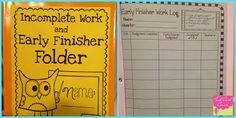 """Here's an idea to create a folder for students to keep work-in-progress and track """"early finisher"""" work."""