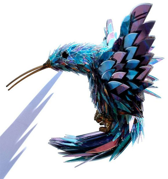 A hummingbird made out of shattered CD's.  Pretty cool.