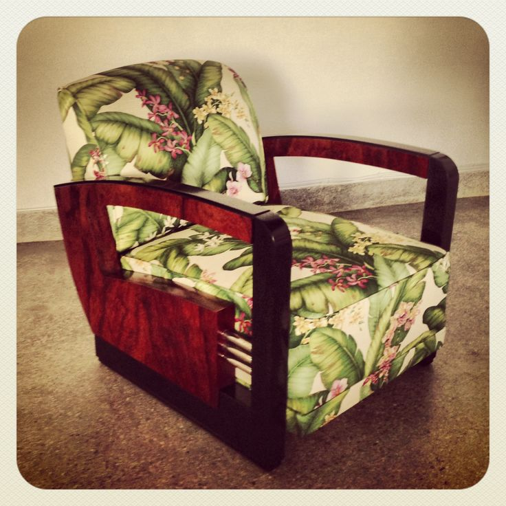 A tropical re-invention of a client's art deco armchair #karageorgiou #beforeafter