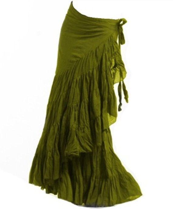 lime green  FLAMENCO SKIRT wrap Skirt GYPSIE by GekkoBoHotique, £39.99